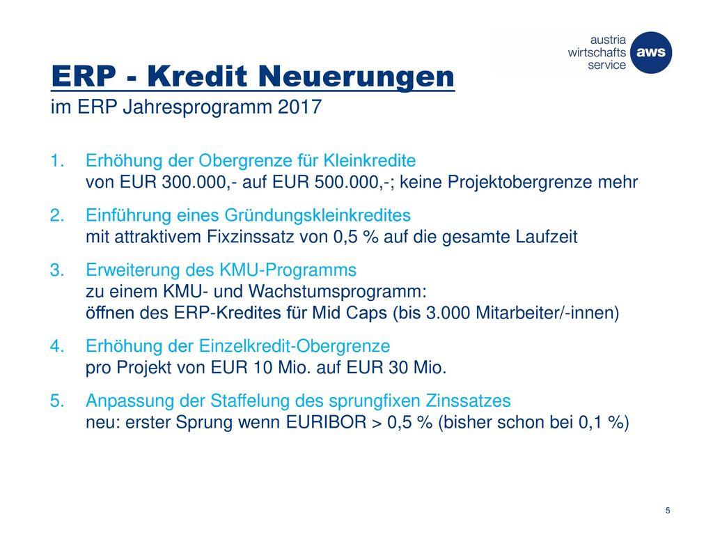 ERP - Kredit Neuerungen im ERP Jahresprogramm 2017
