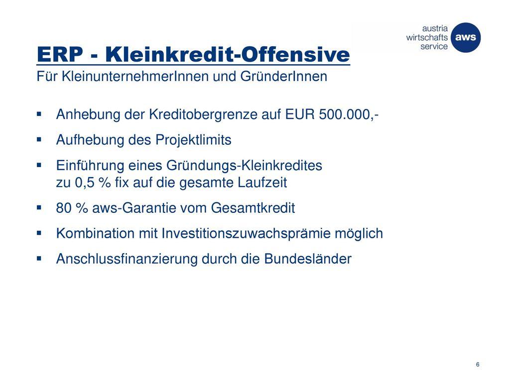 ERP - Kleinkredit-Offensive Für KleinunternehmerInnen und GründerInnen