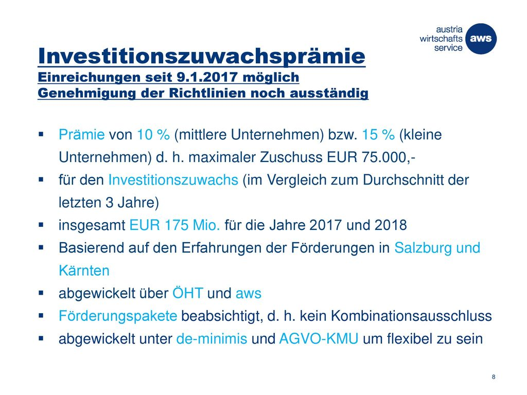 Investitionszuwachsprämie Einreichungen seit 9. 1