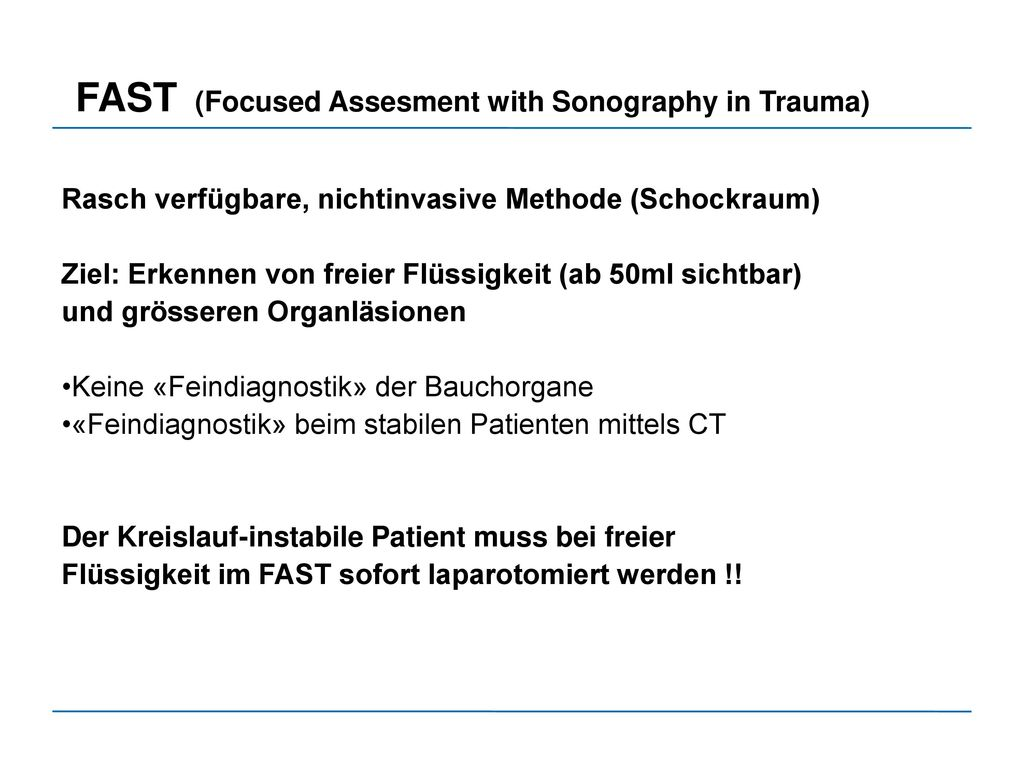 FAST (Focused Assesment with Sonography in Trauma)