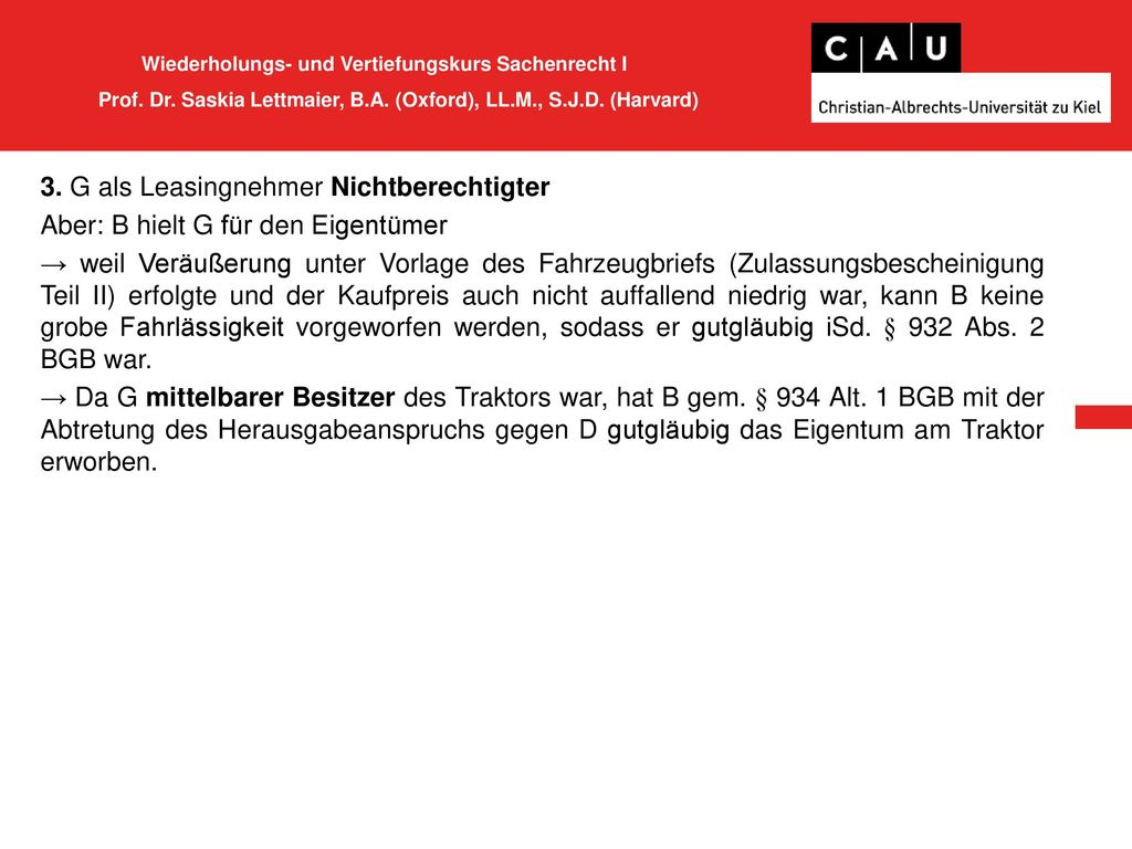 Wiederholungs- und Vertiefungskurs Sachenrecht I Prof. Dr