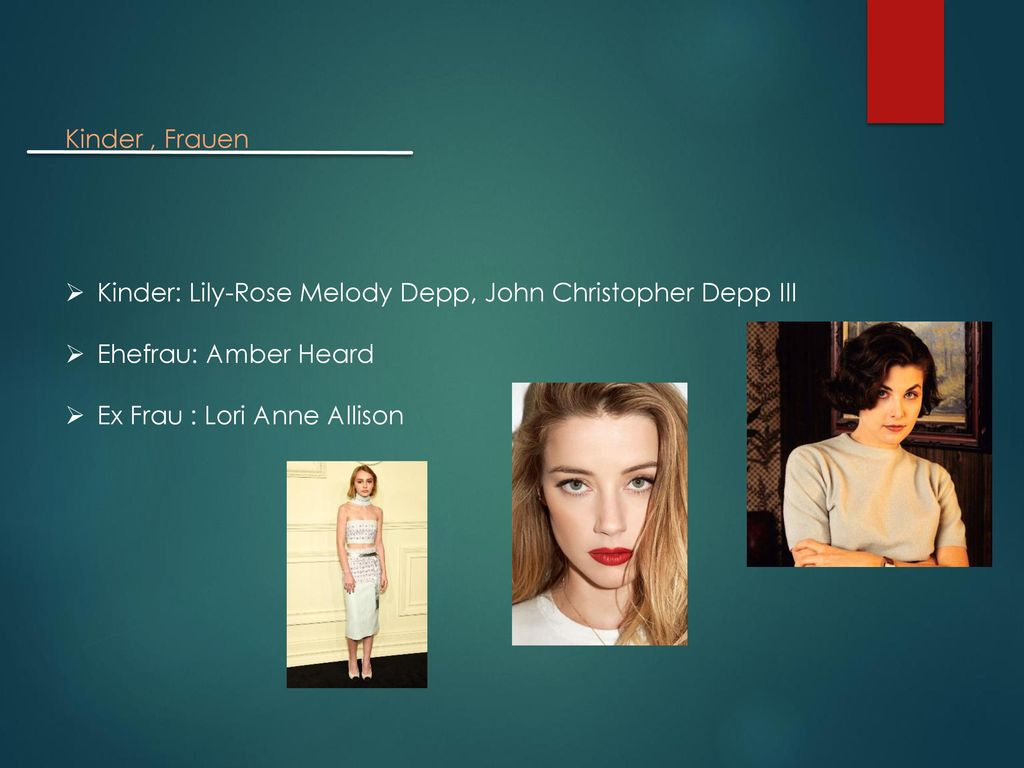Kinder , Frauen Kinder: Lily-Rose Melody Depp, John Christopher Depp III.