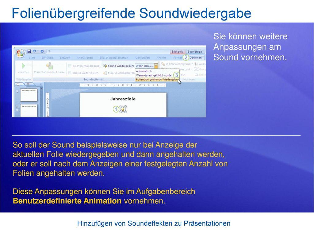Folienübergreifende Soundwiedergabe