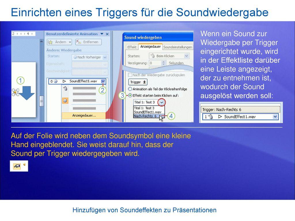 Einrichten eines Triggers für die Soundwiedergabe