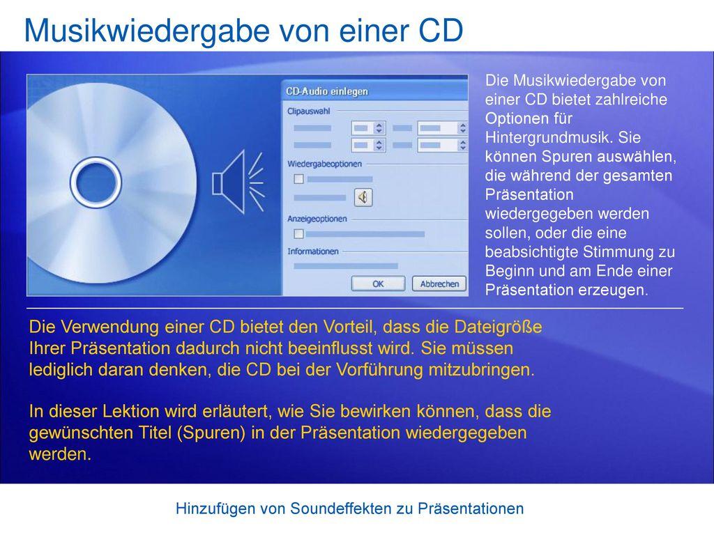 Musikwiedergabe von einer CD