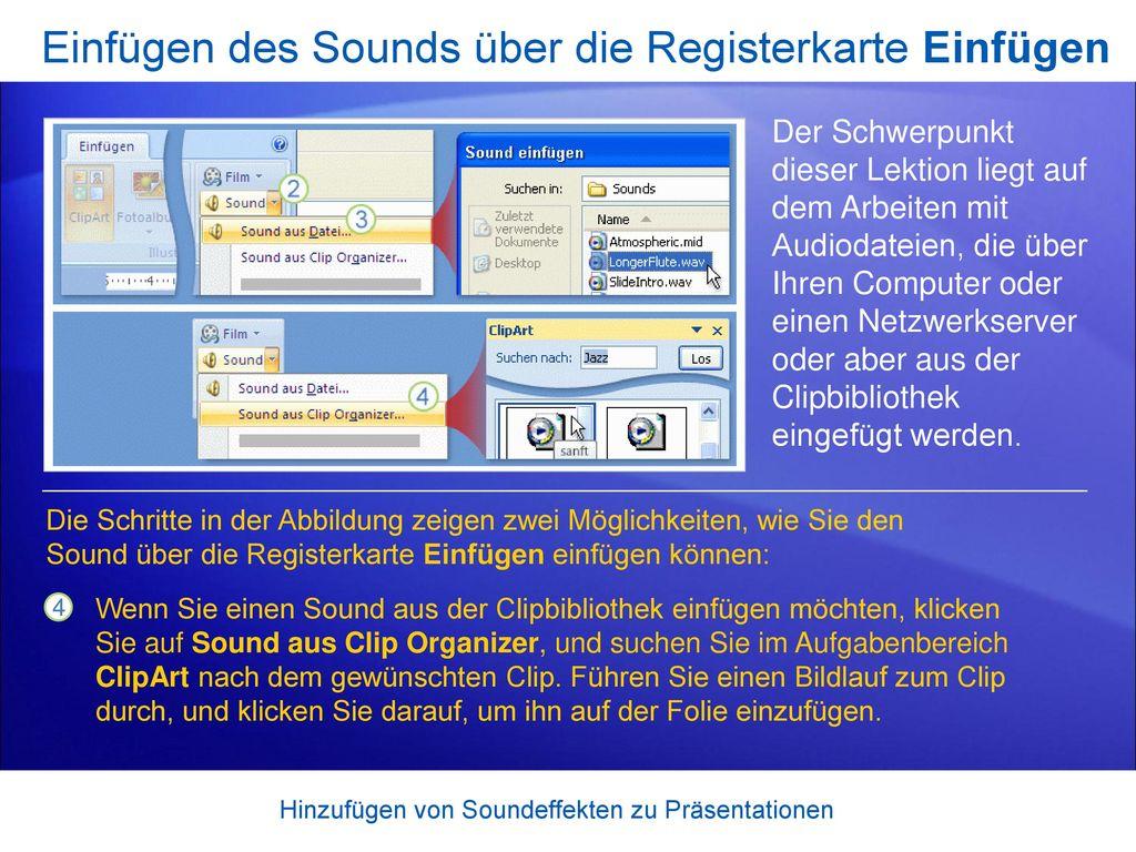 Einfügen des Sounds über die Registerkarte Einfügen