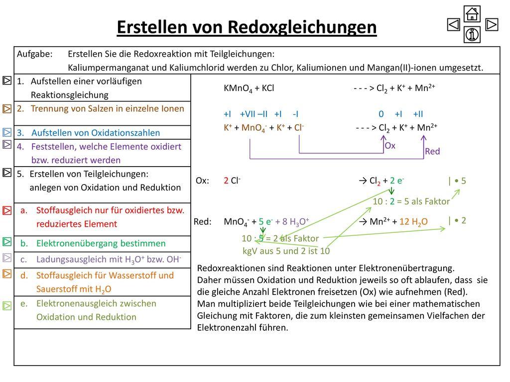 Erstellen von Redoxgleichungen