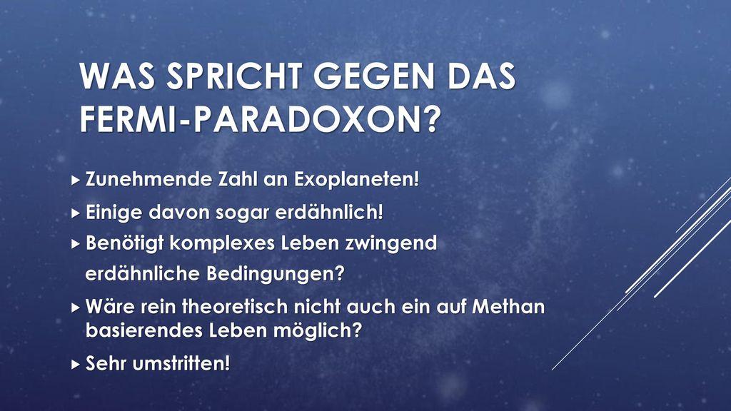 Was spricht gegen das fermi-paradoxon