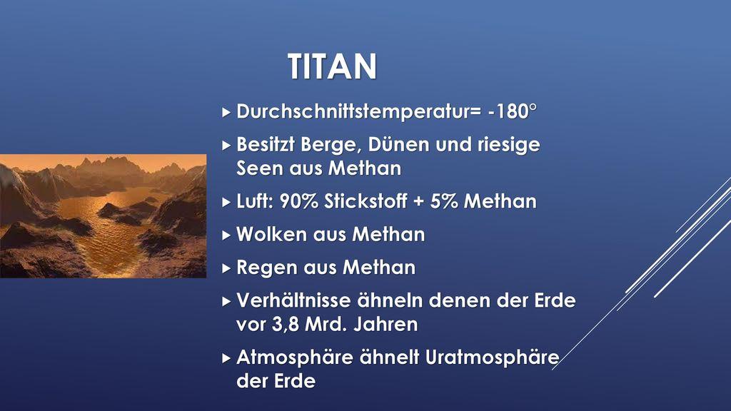 Titan Durchschnittstemperatur= -180°