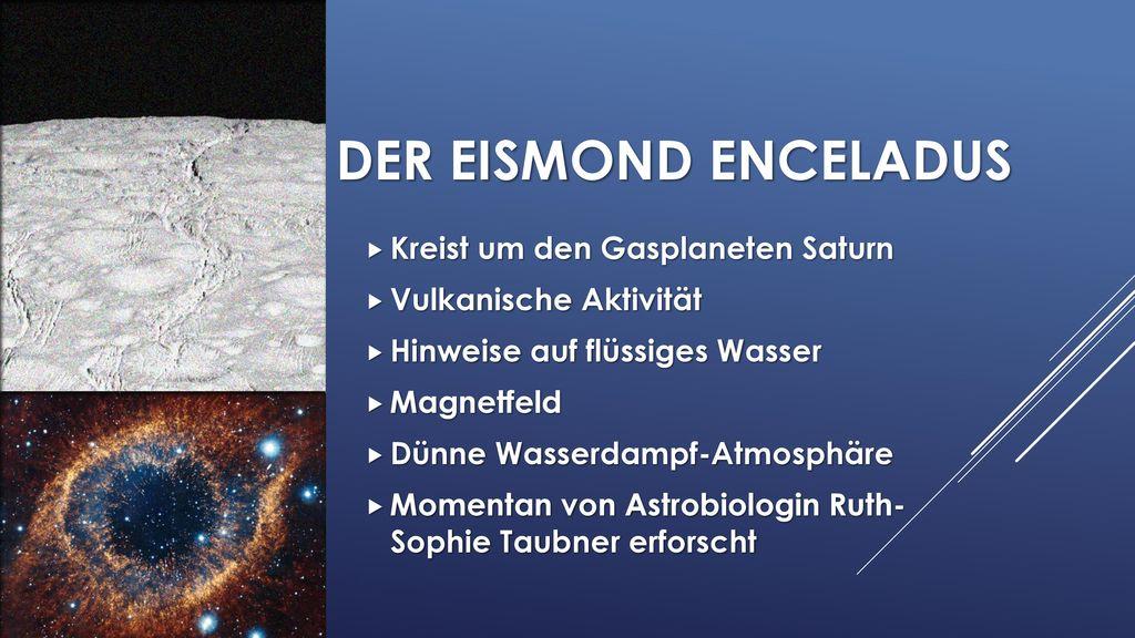 Der eismond enceladus Kreist um den Gasplaneten Saturn