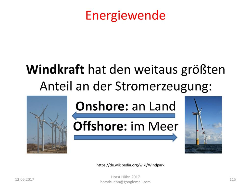 Windkraft hat den weitaus größten Anteil an der Stromerzeugung: