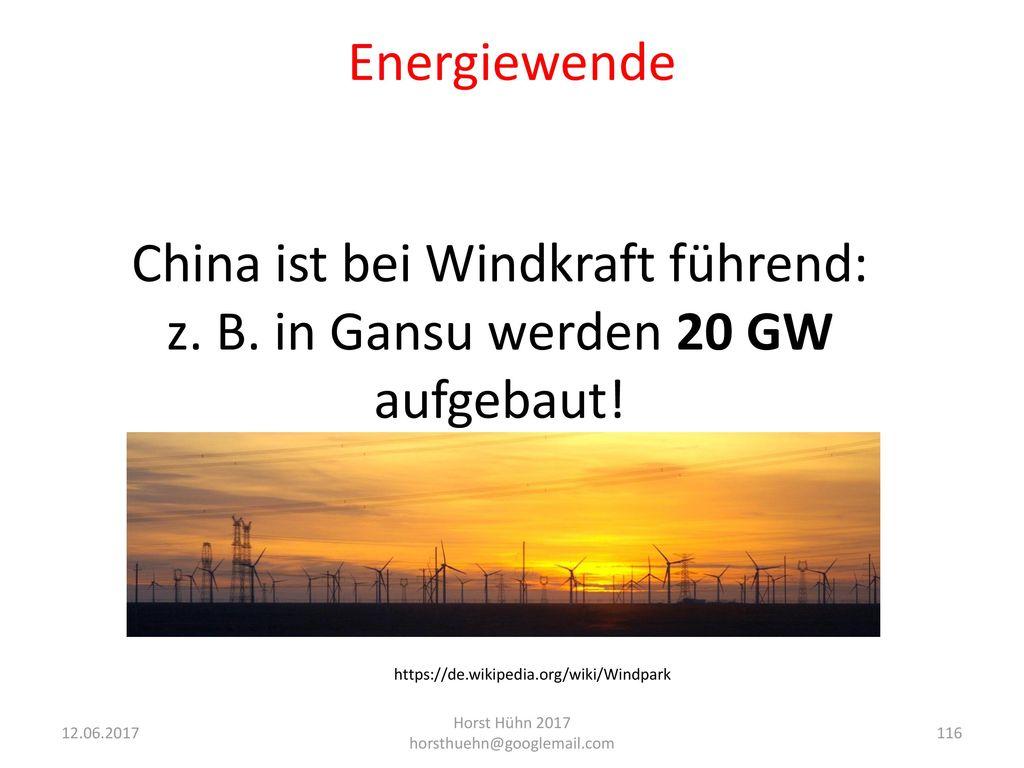 China ist bei Windkraft führend: