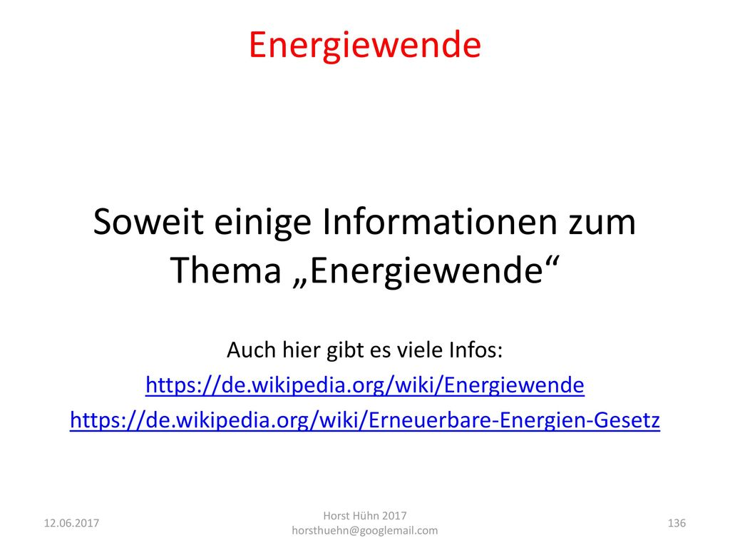 """Soweit einige Informationen zum Thema """"Energiewende"""