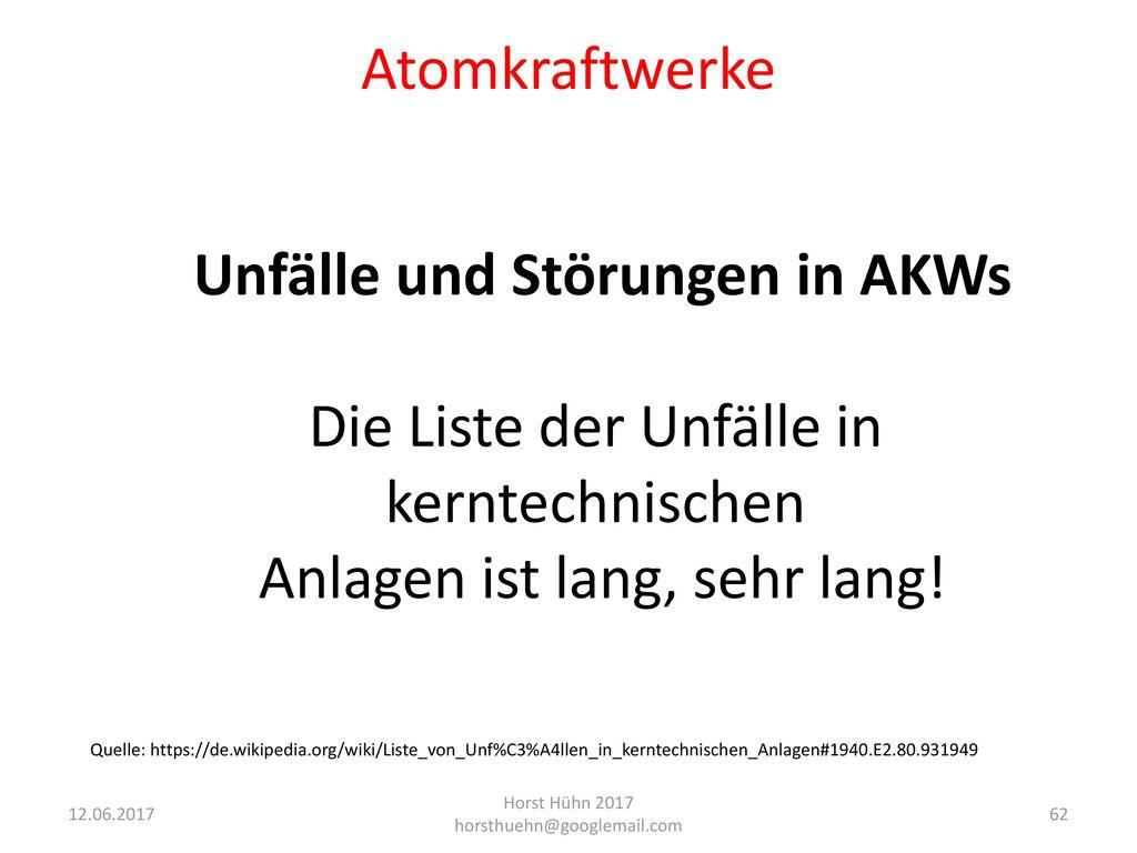 Unfälle und Störungen in AKWs
