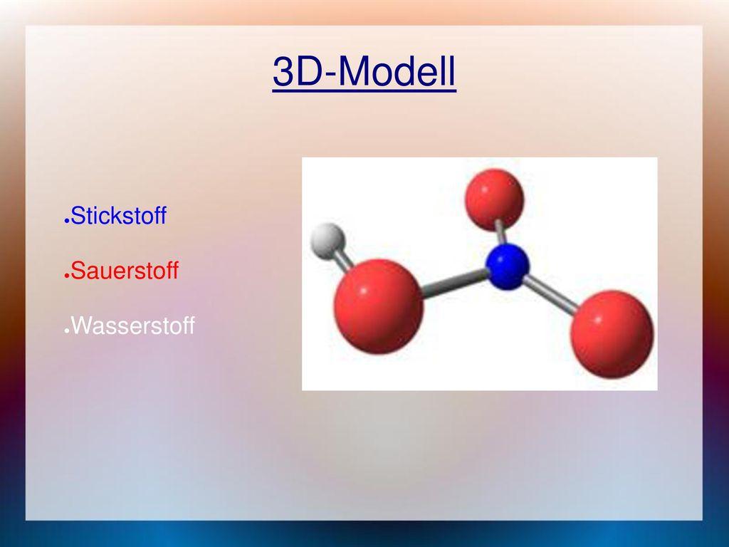3D-Modell Stickstoff Sauerstoff Wasserstoff