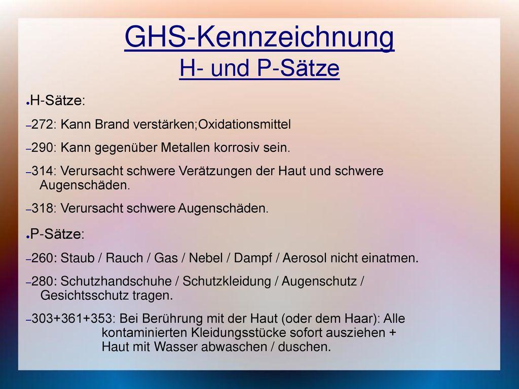 GHS-Kennzeichnung H- und P-Sätze