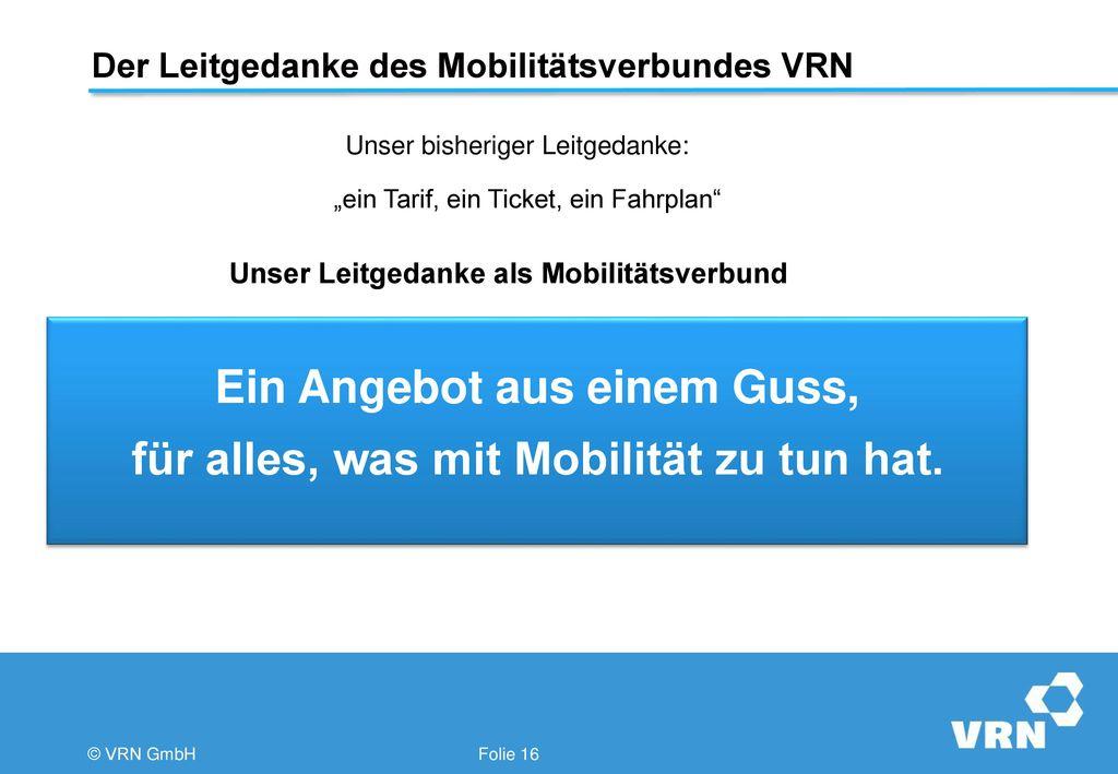 Der Leitgedanke des Mobilitätsverbundes VRN