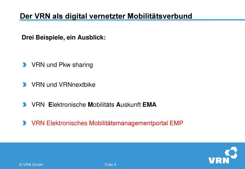 Der VRN als digital vernetzter Mobilitätsverbund