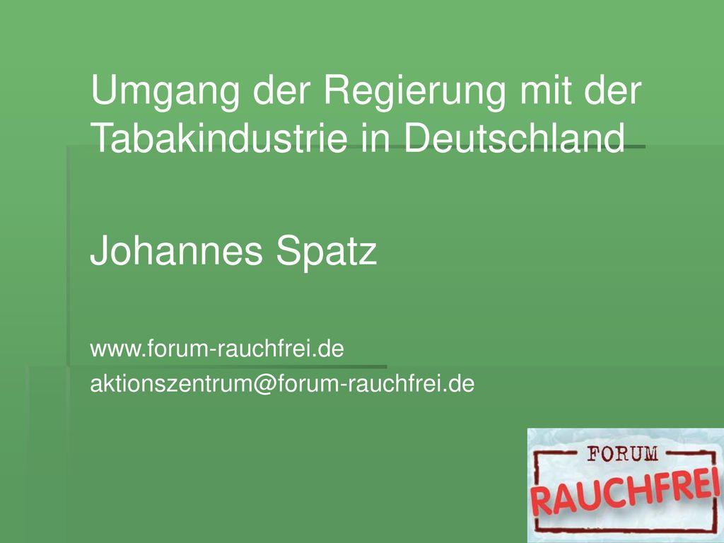 Umgang der Regierung mit der Tabakindustrie in Deutschland