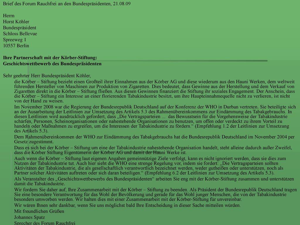 Brief des Forum Rauchfrei an den Bundespräsidenten, 21.08.09