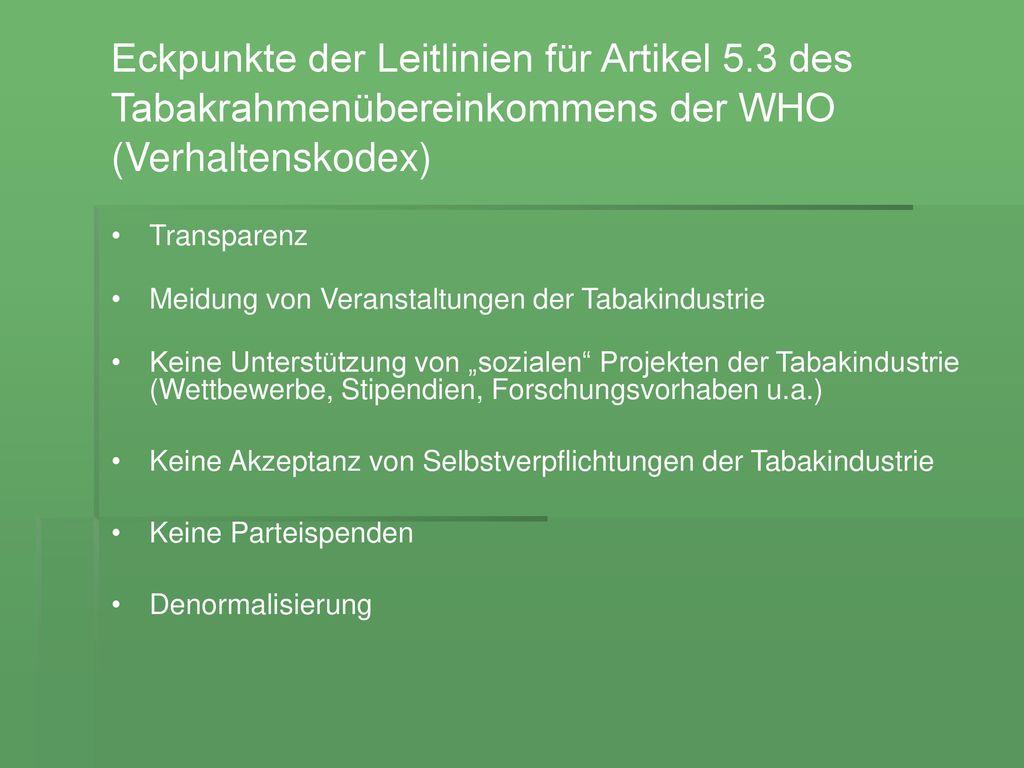 Eckpunkte der Leitlinien für Artikel 5.3 des