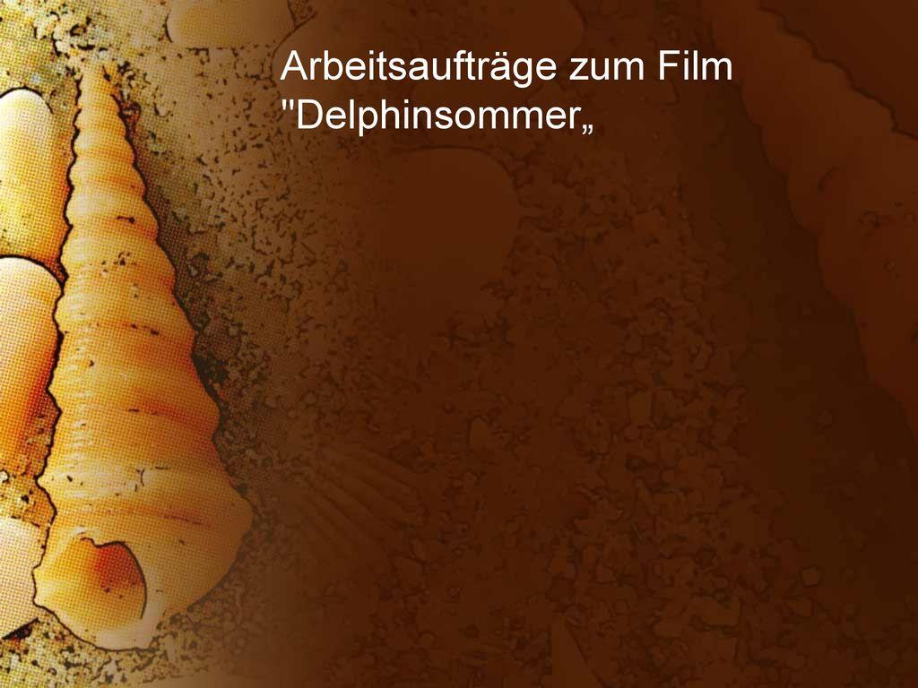 """Arbeitsaufträge zum Film Delphinsommer"""""""
