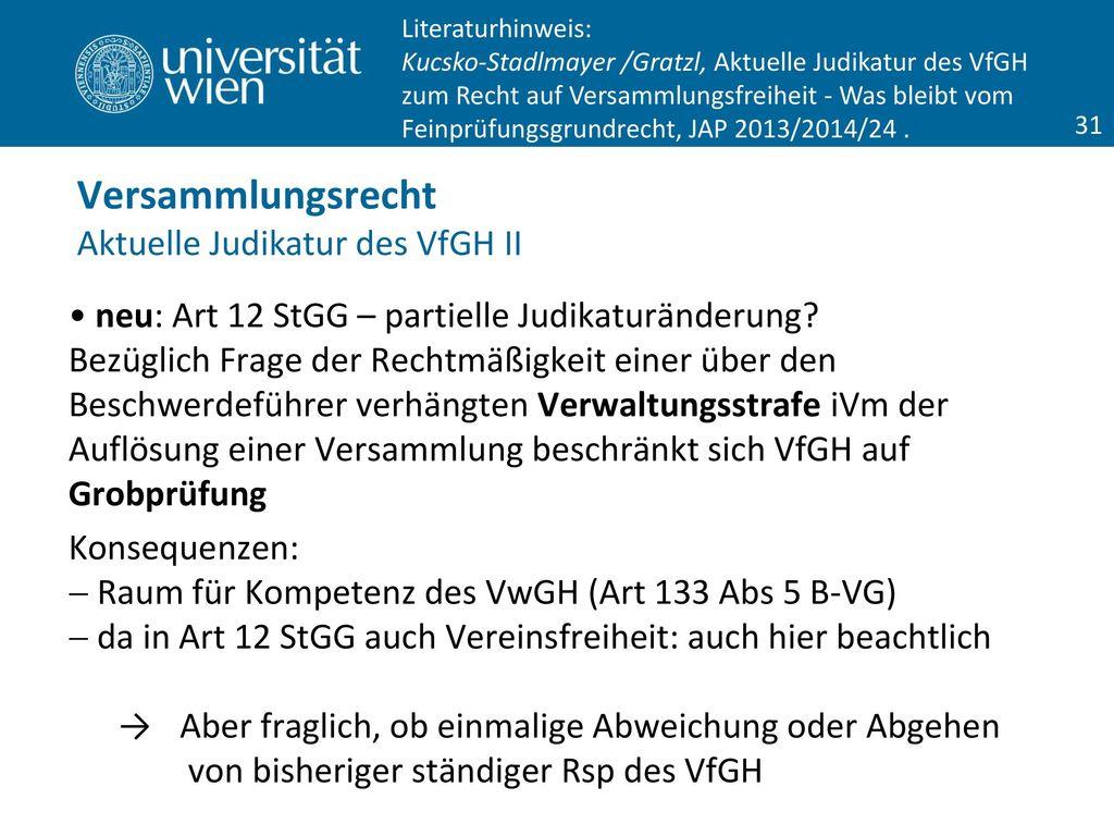 Versammlungsrecht Aktuelle Judikatur des VfGH II