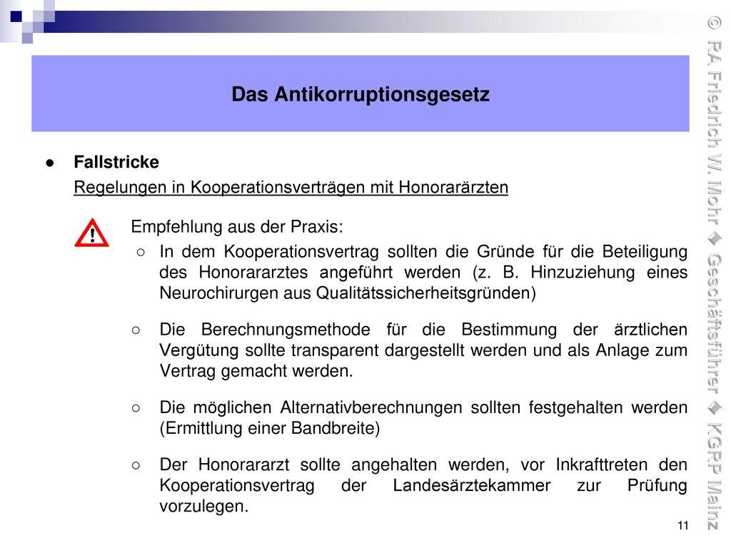 Das Antikorruptionsgesetz