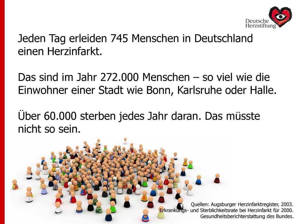 Jeden Tag erleiden 745 Menschen in Deutschland einen Herzinfarkt.