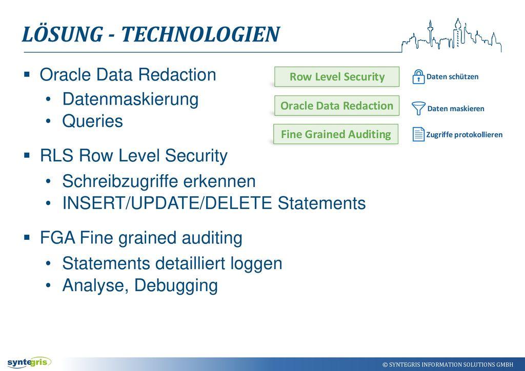 Lösung - Technologien Oracle Data Redaction Datenmaskierung Queries