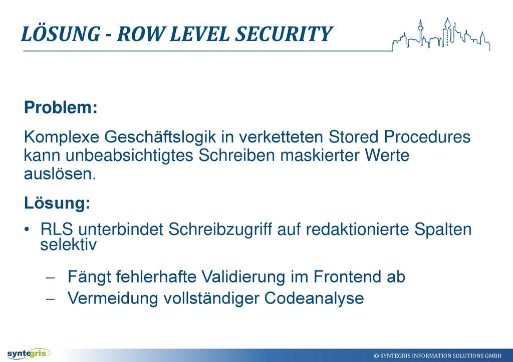 Lösung - Row Level Security