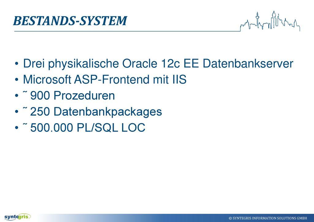 Bestands-system Drei physikalische Oracle 12c EE Datenbankserver