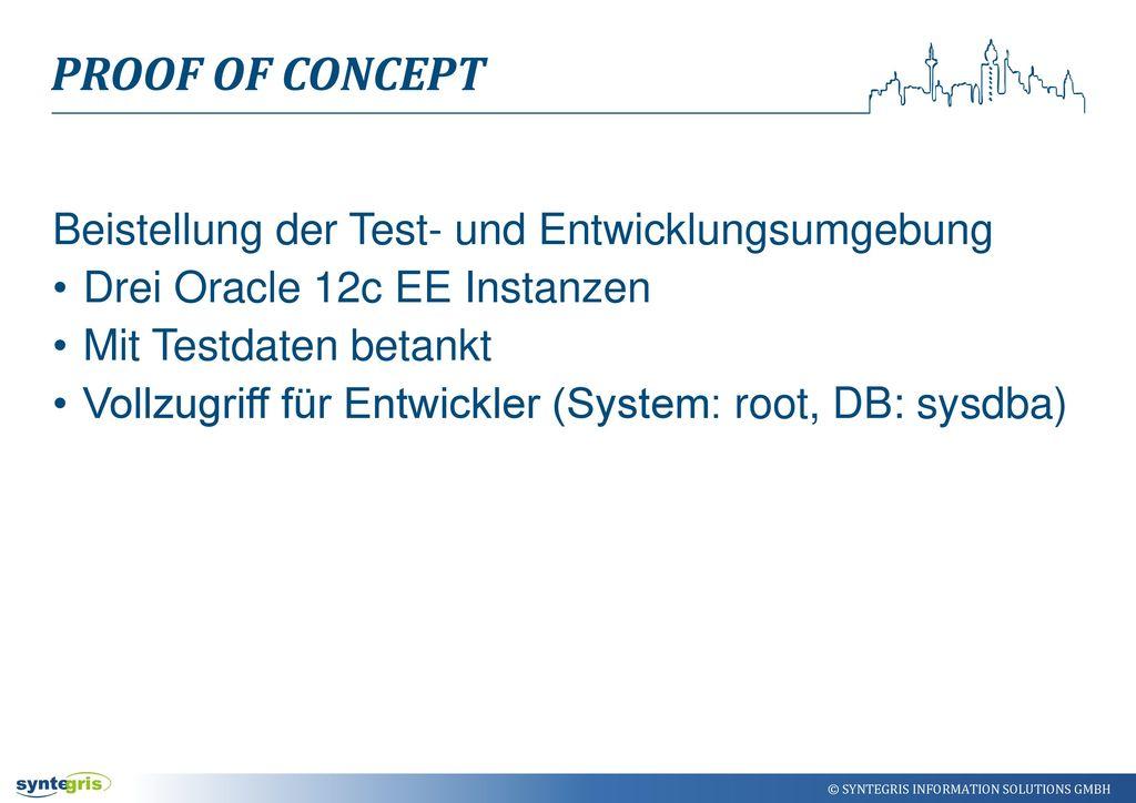 Proof of Concept Beistellung der Test- und Entwicklungsumgebung