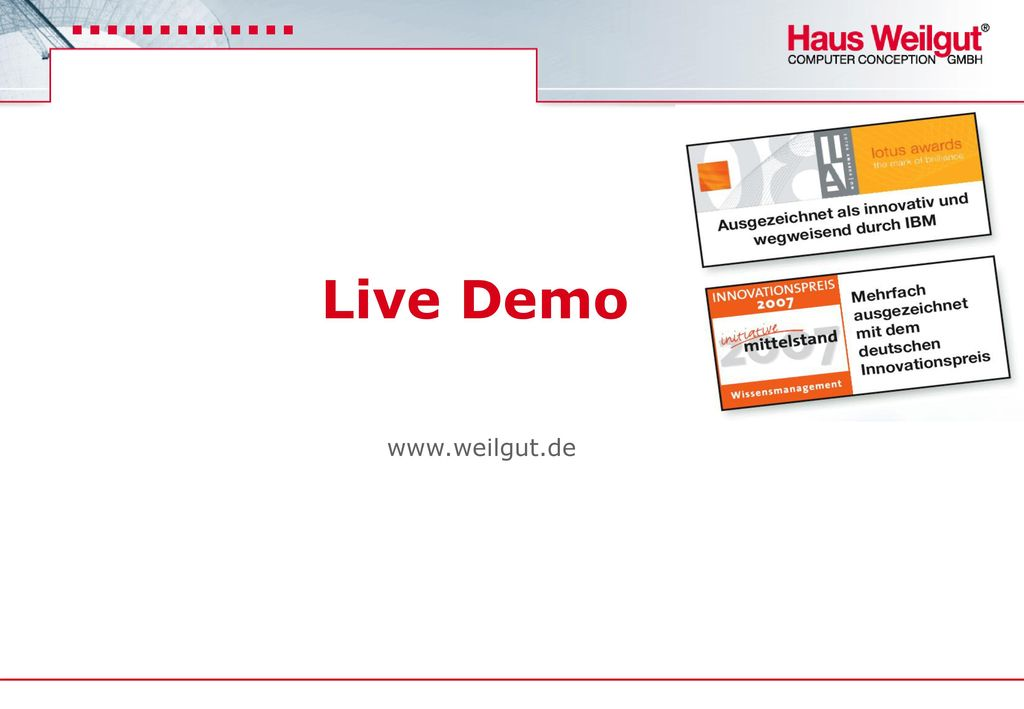 Live Demo www.weilgut.de