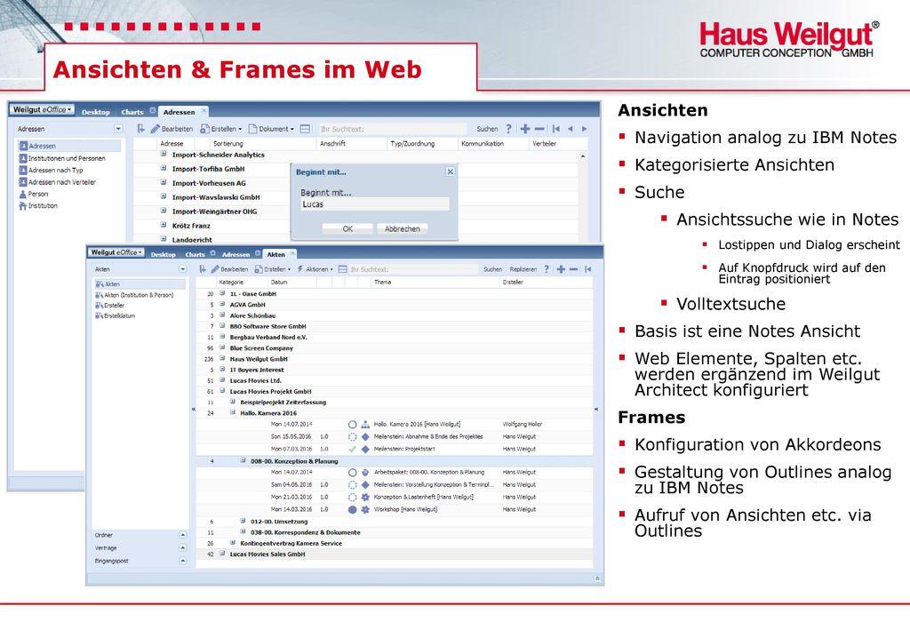 Ansichten & Frames im Web