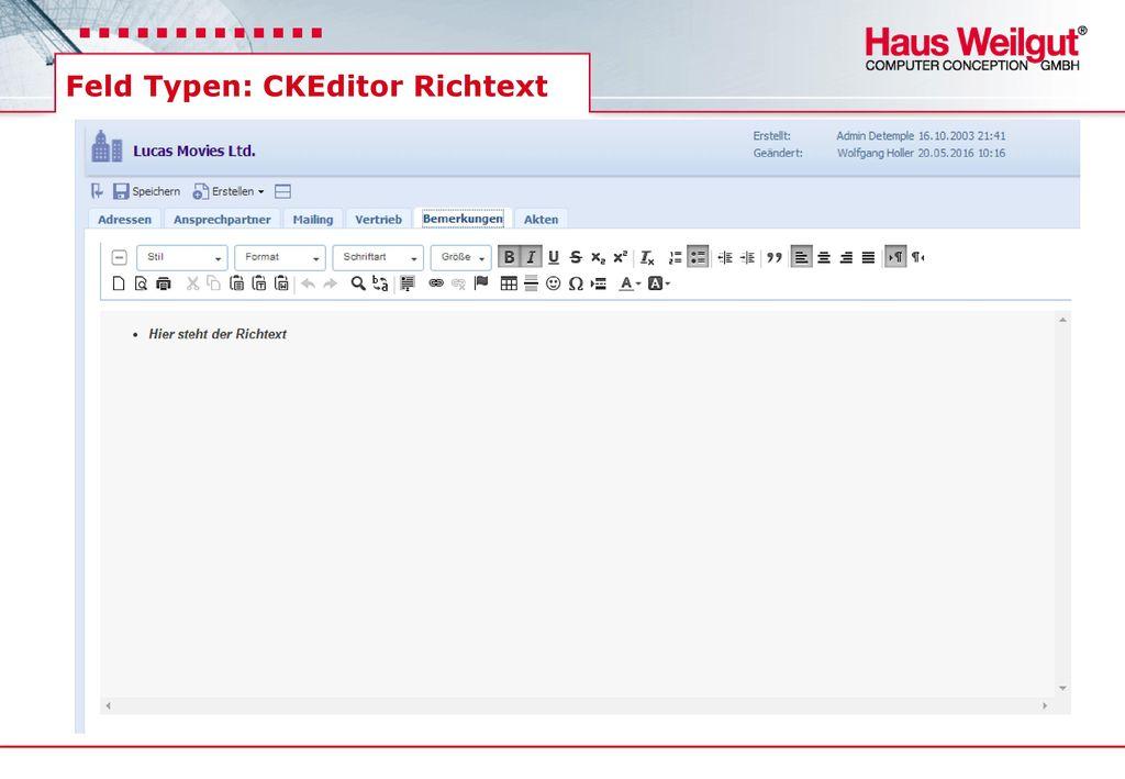 Feld Typen: CKEditor Richtext