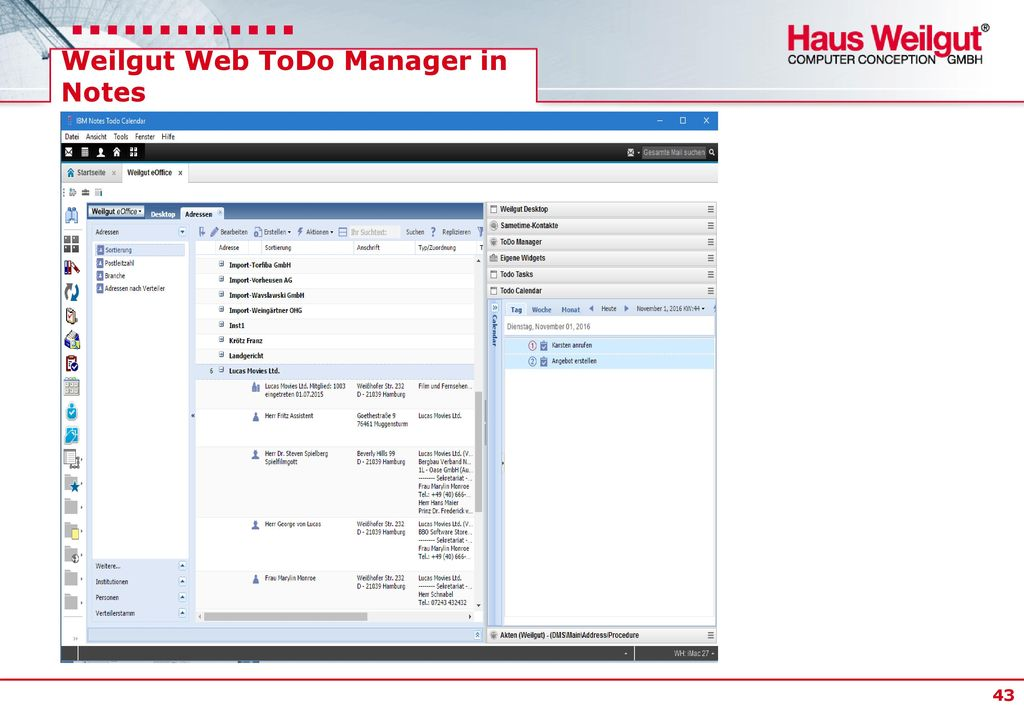 Weilgut Web ToDo Manager in Notes