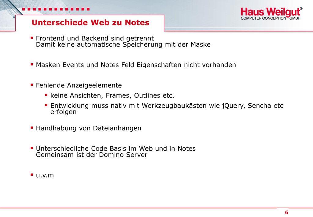 Unterschiede Web zu Notes