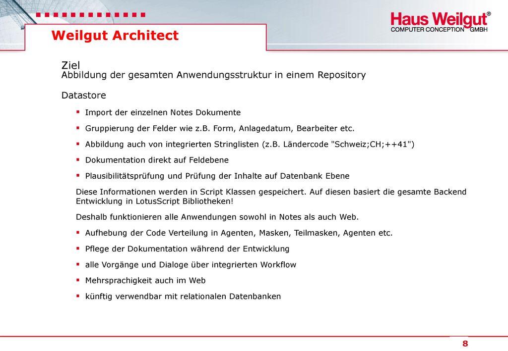 Weilgut Architect Ziel Abbildung der gesamten Anwendungsstruktur in einem Repository. Datastore.