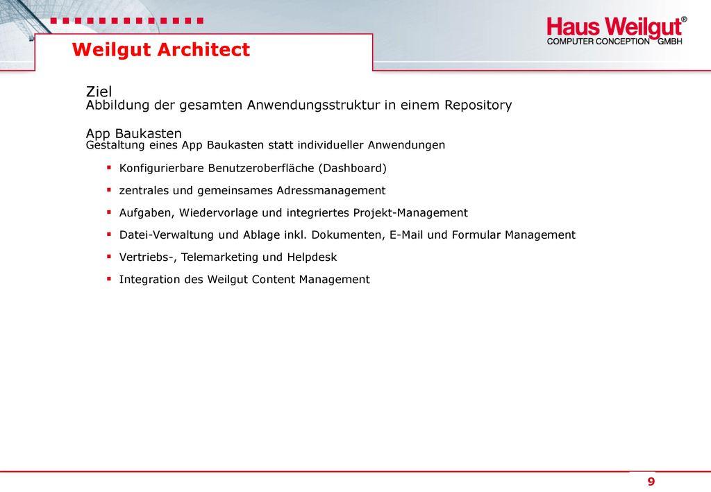 Weilgut Architect Ziel Abbildung der gesamten Anwendungsstruktur in einem Repository.