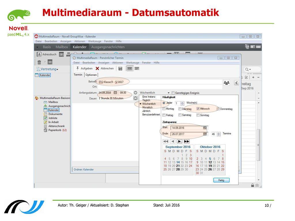 Multimediaraum - Datumsautomatik