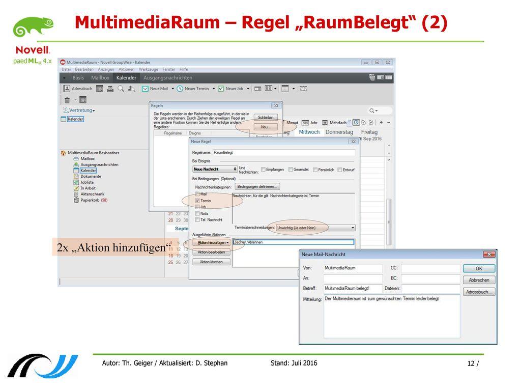 "MultimediaRaum – Regel ""RaumBelegt (2)"