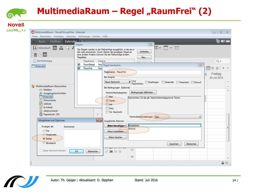 """MultimediaRaum – Regel """"RaumFrei (2)"""