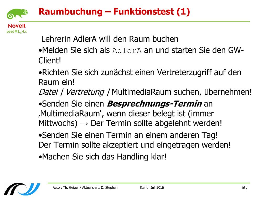 Raumbuchung – Funktionstest (1)