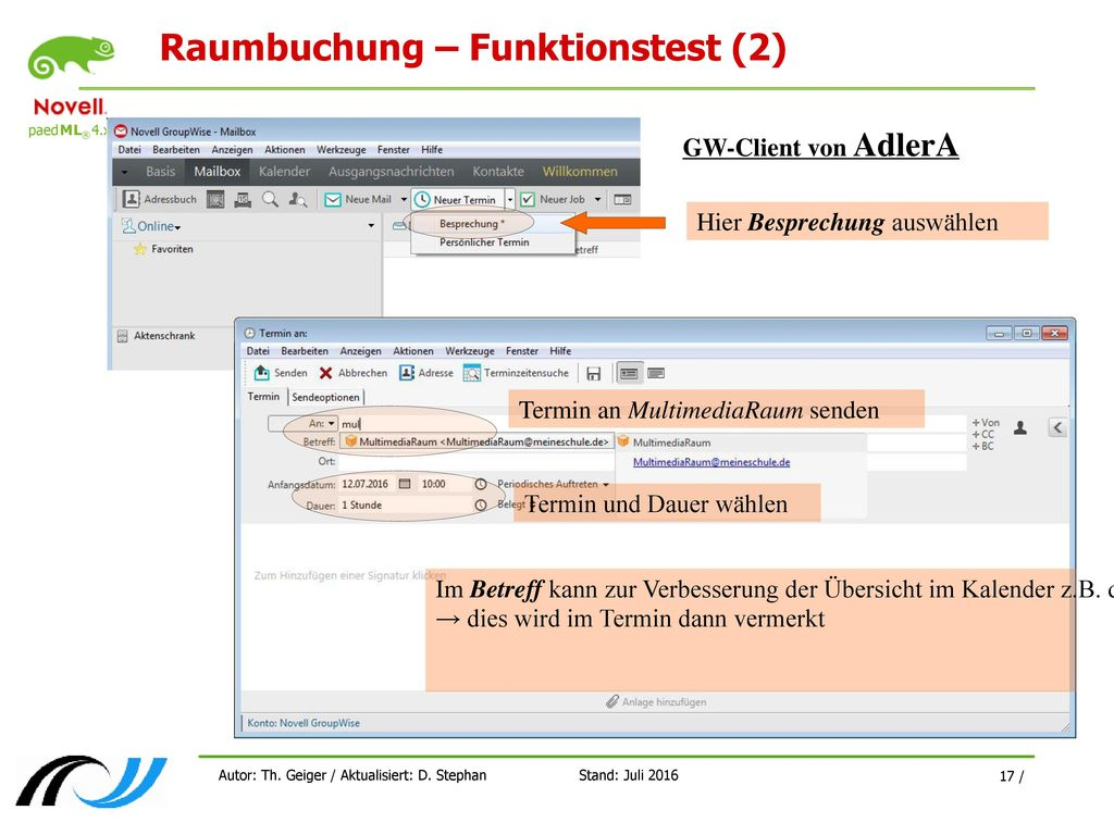 Raumbuchung – Funktionstest (2)