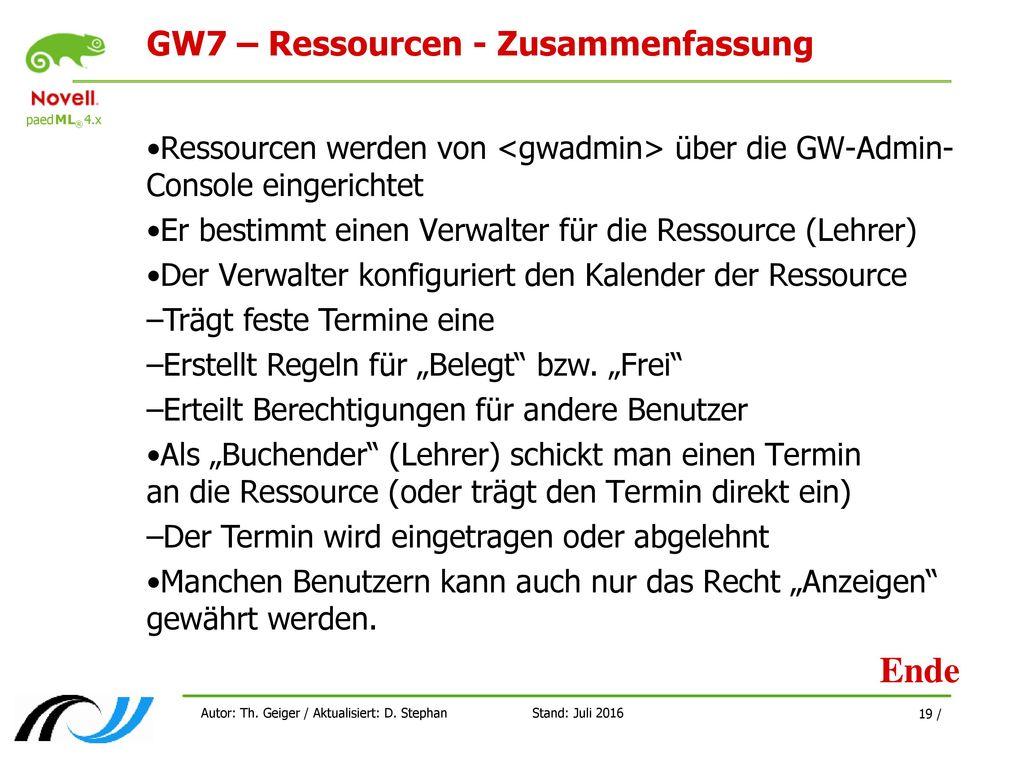 GW7 – Ressourcen - Zusammenfassung
