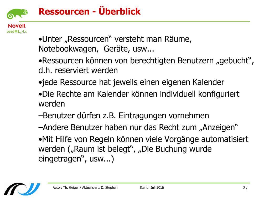 Ressourcen - Überblick