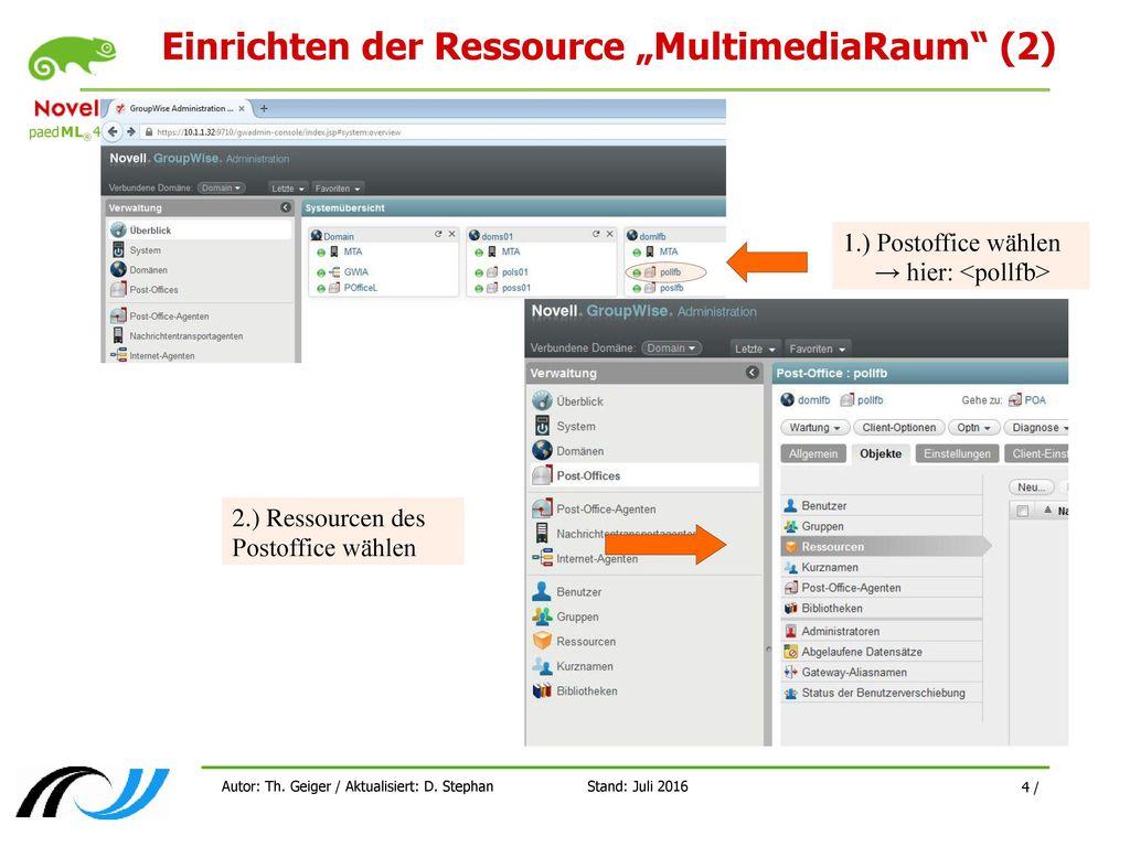 """Einrichten der Ressource """"MultimediaRaum (2)"""