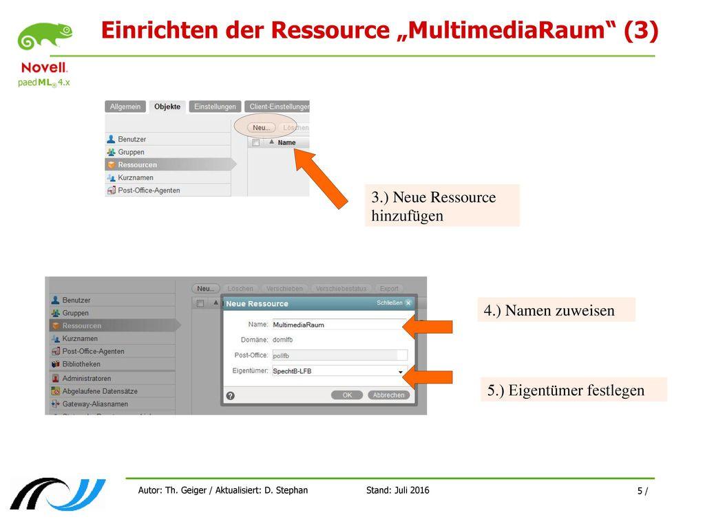 """Einrichten der Ressource """"MultimediaRaum (3)"""