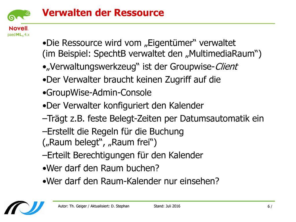 Verwalten der Ressource